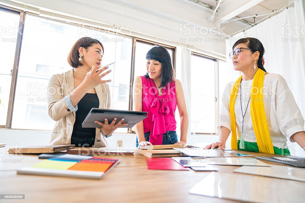Female executives at an interior design or architectural firm stock photo