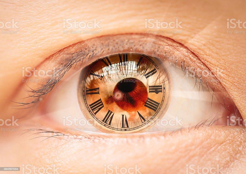 Female eye roman numerals  bio clock. stock photo