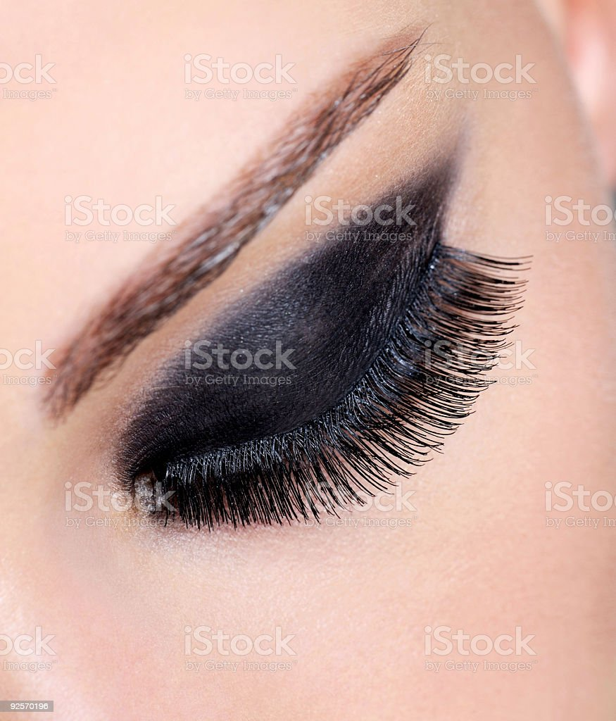 female eye with bright glamour make-up stock photo