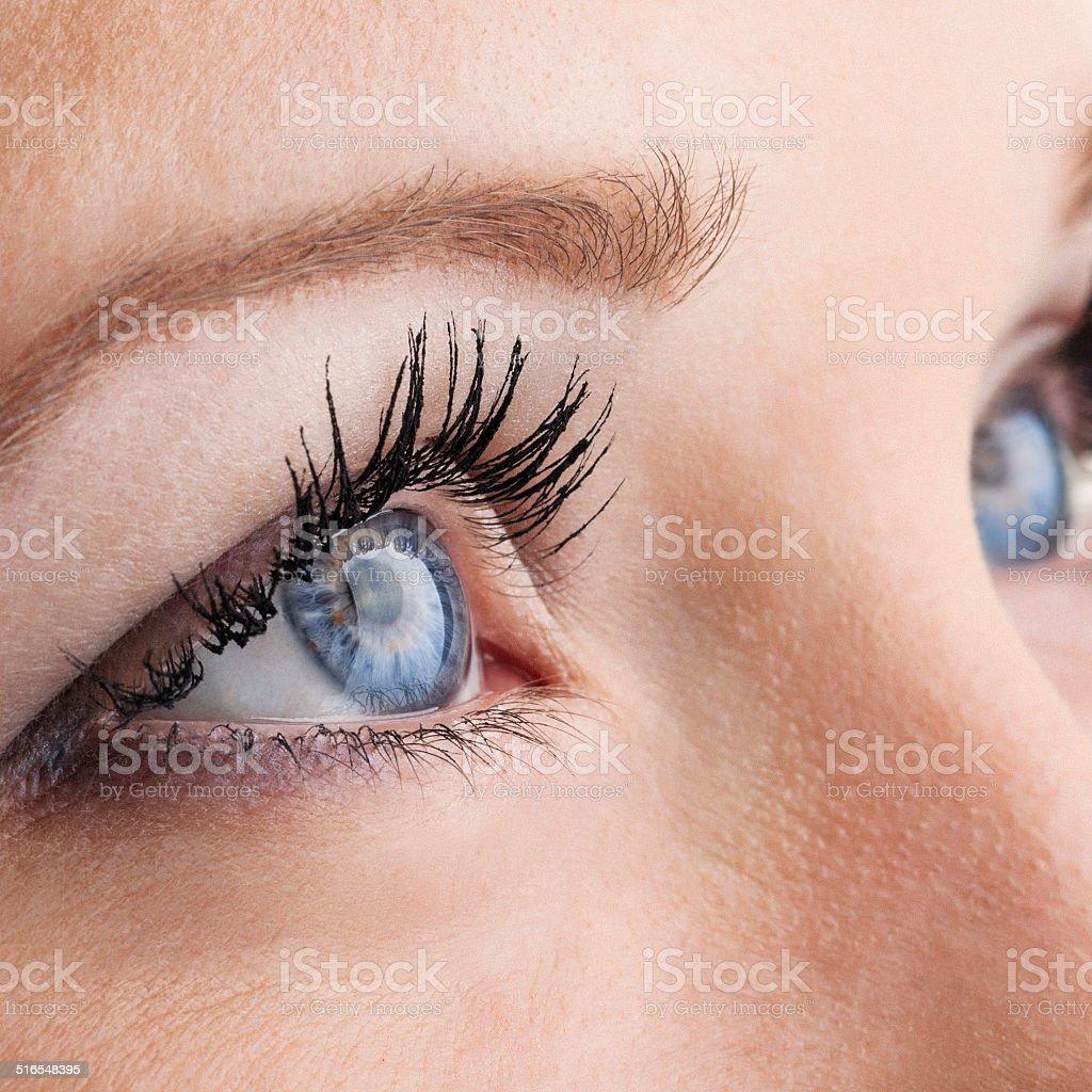 Female eyes macro stock photo