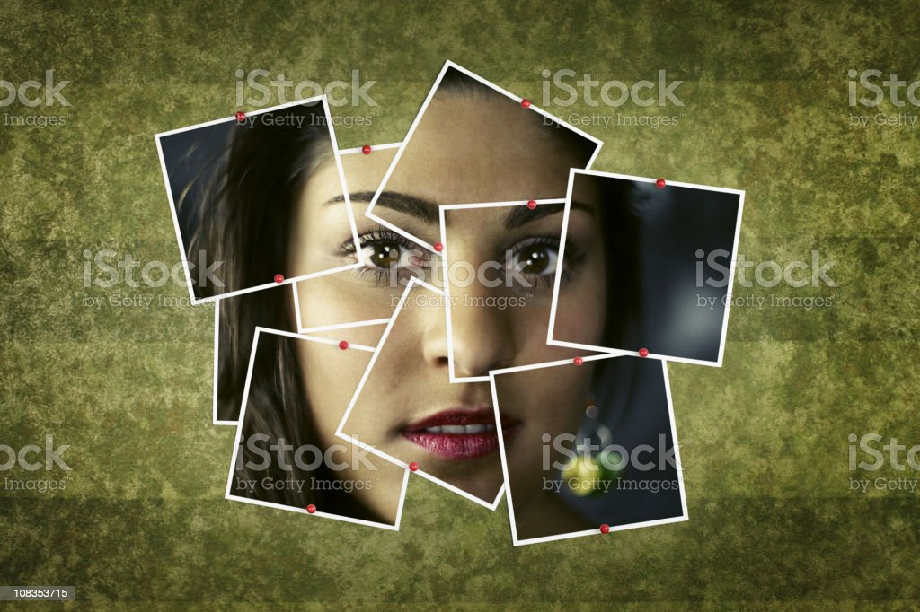 Female Face Photo Collage royalty-free stock photo