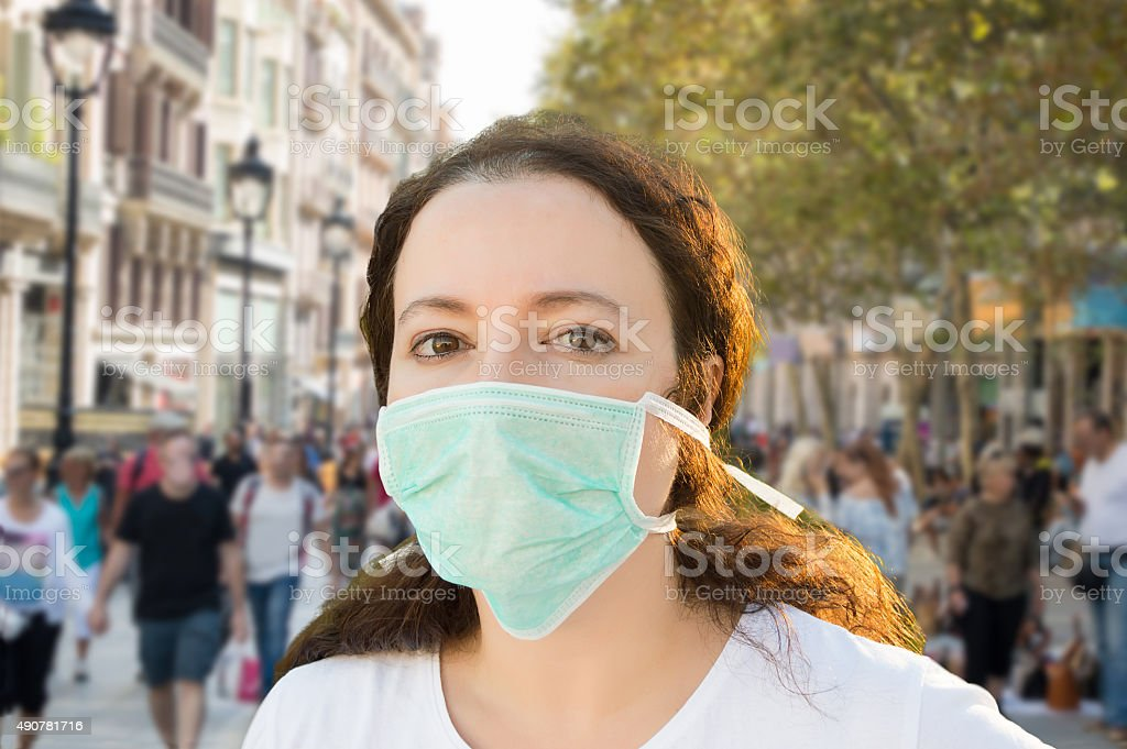 female facing pollution stock photo