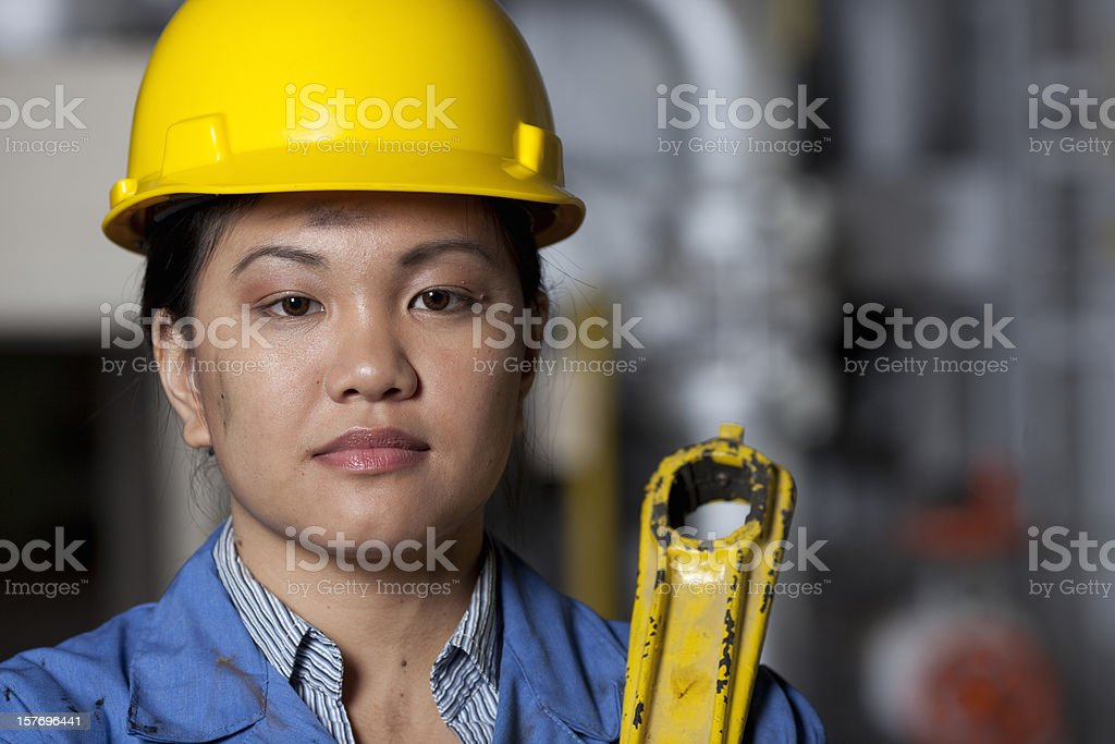 Female factory worker royalty-free stock photo