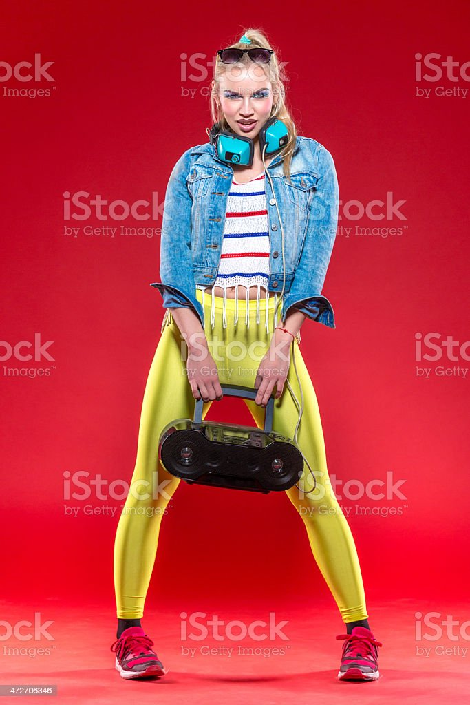 Female Fan Of Style 80th stock photo