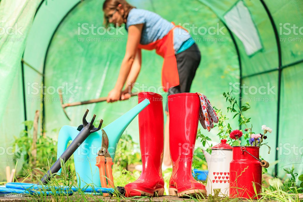 Female farmer and gardening tools in garden stock photo