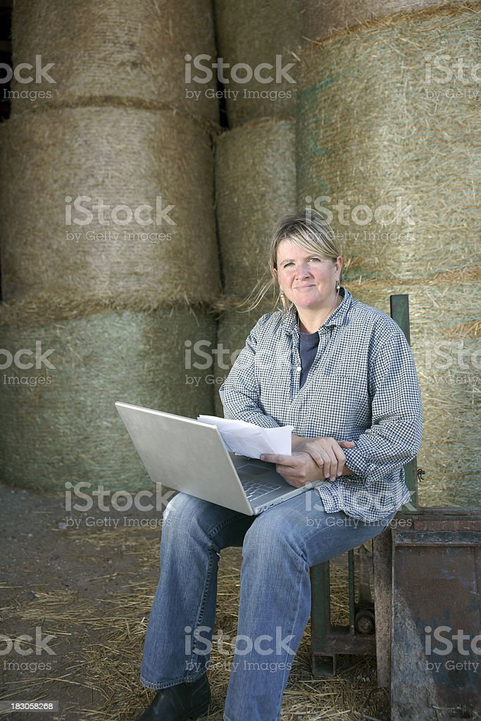 Female farmer working on a laptop in the barn stock photo