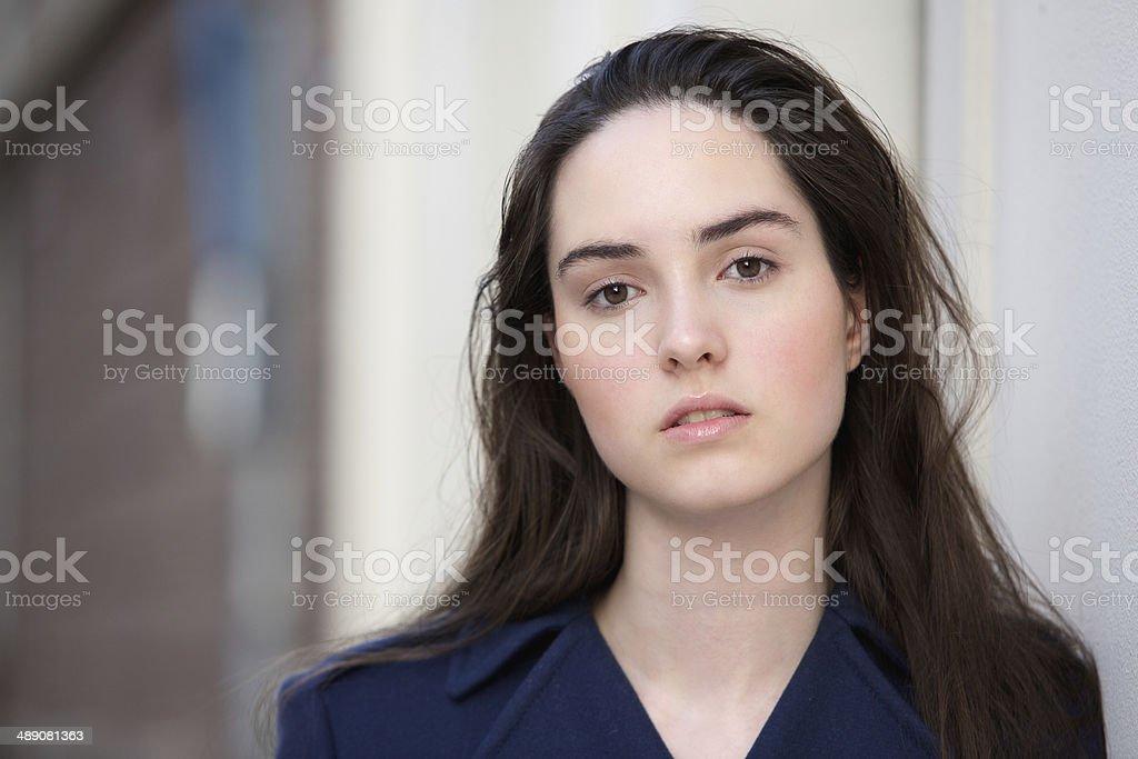 Female fashion model outside stock photo