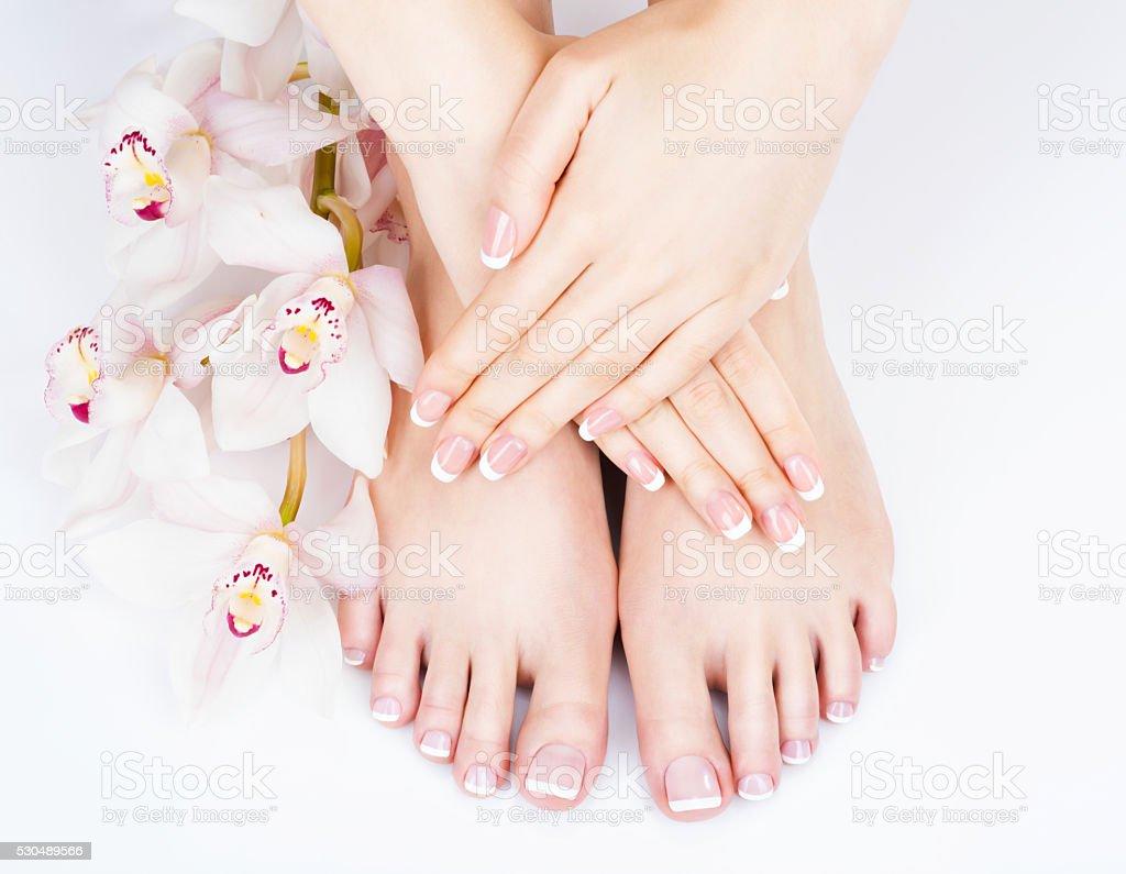 female feet at spa salon on pedicure and manicure procedure stock photo