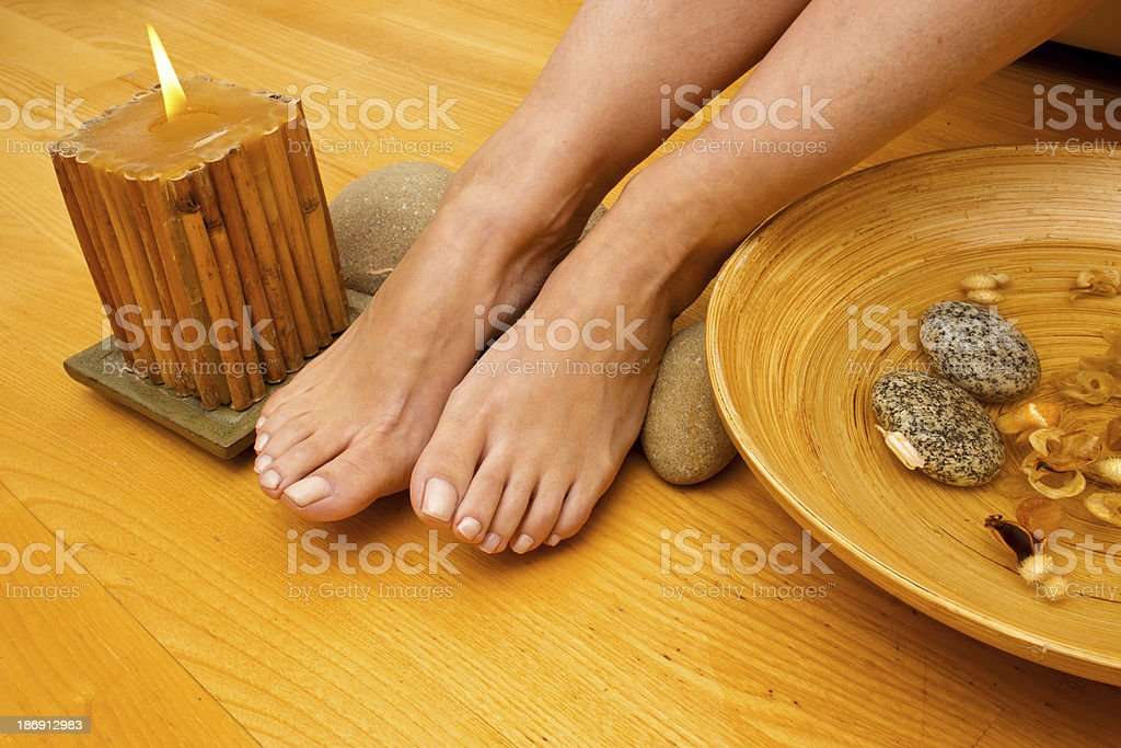 female feet on spa treatment royalty-free stock photo