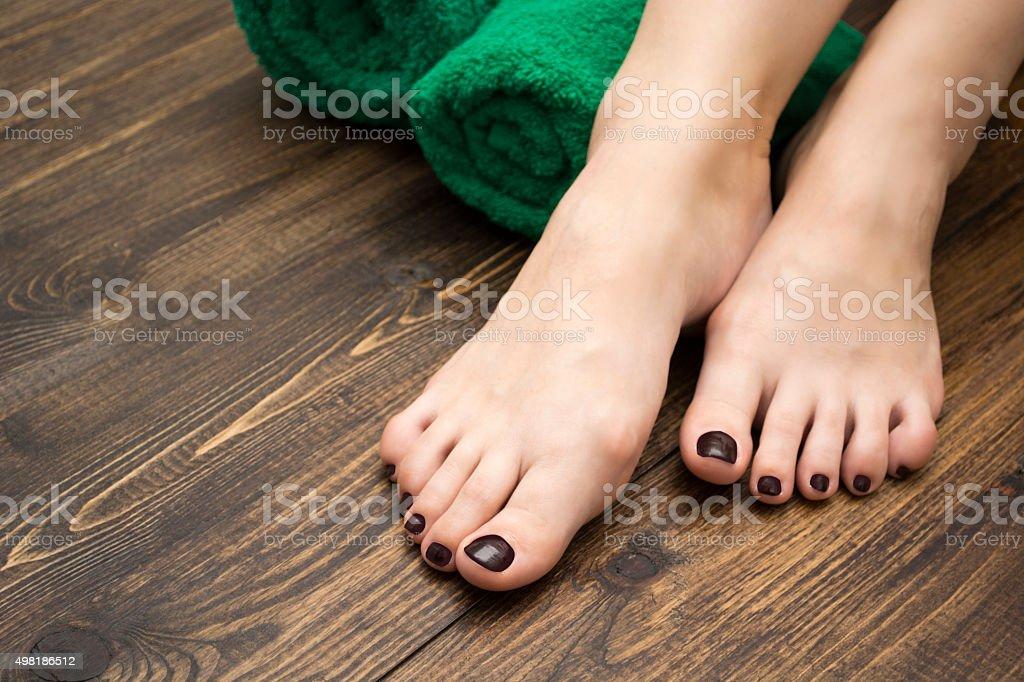 female feet pedicure stock photo