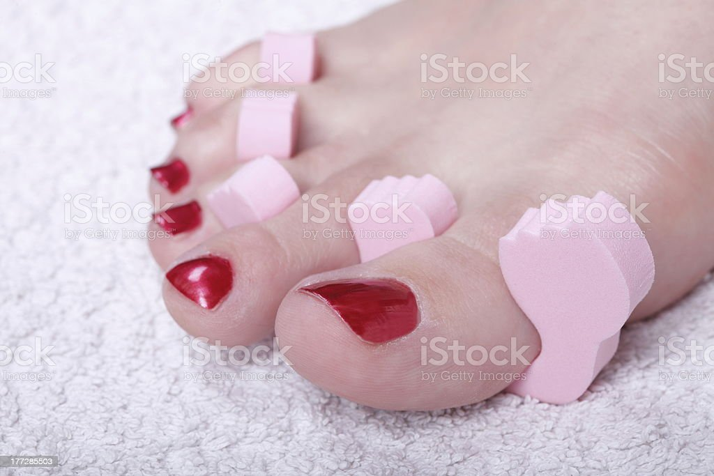 female feet red polished nails royalty-free stock photo
