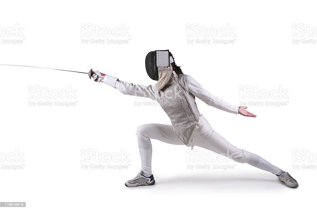 Female fencer with outstretched foil stock photo