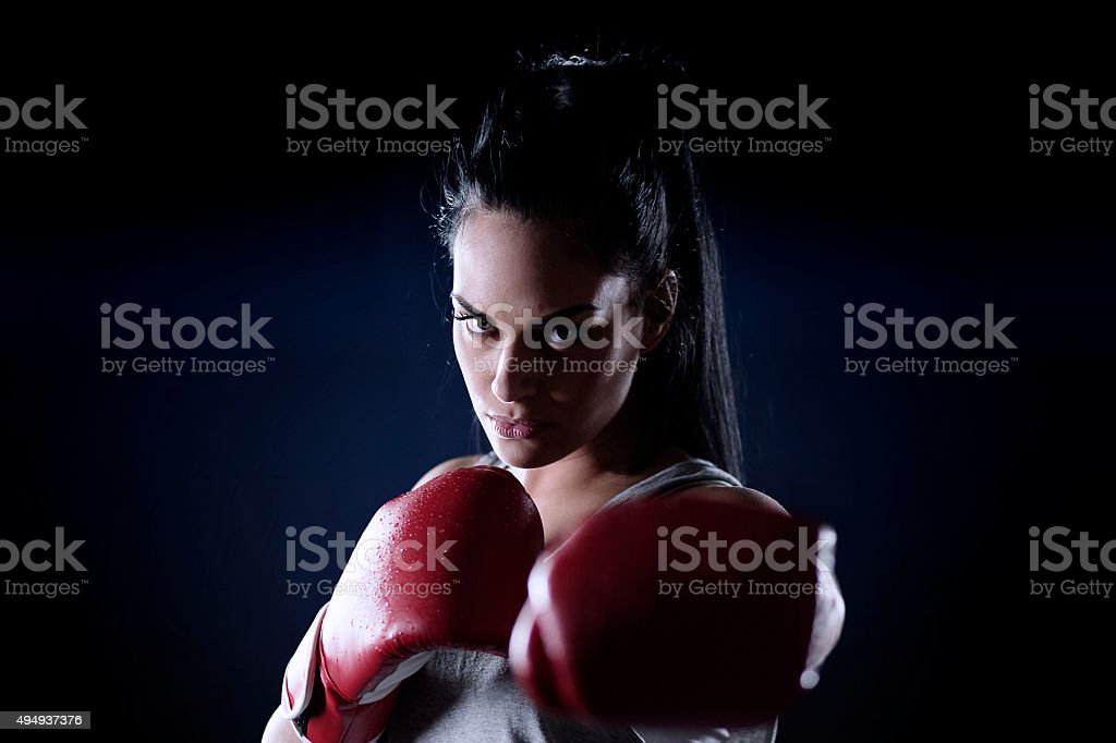 Female fighter stock photo