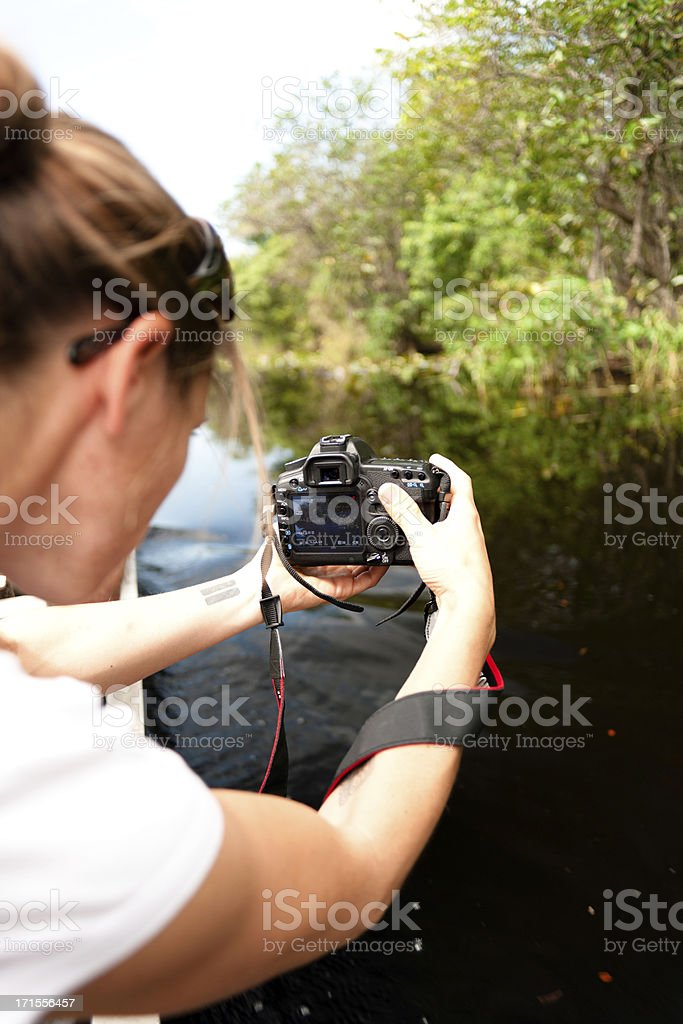 Female filming the everglades stock photo