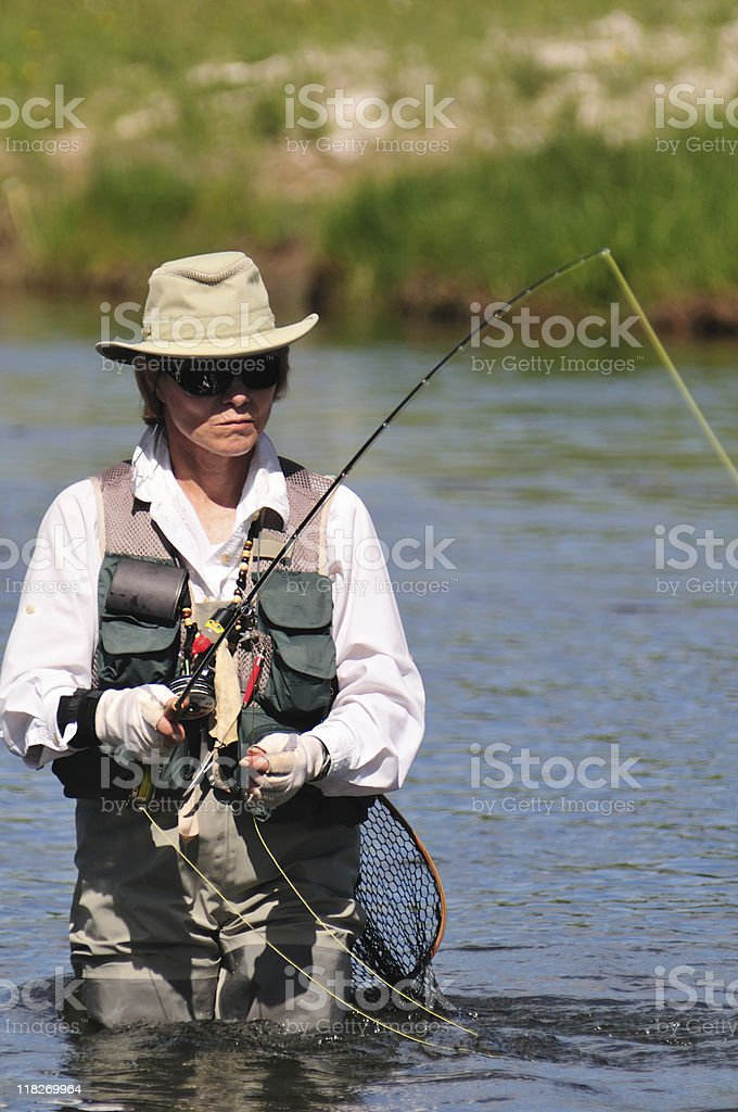 Female Fishing royalty-free stock photo