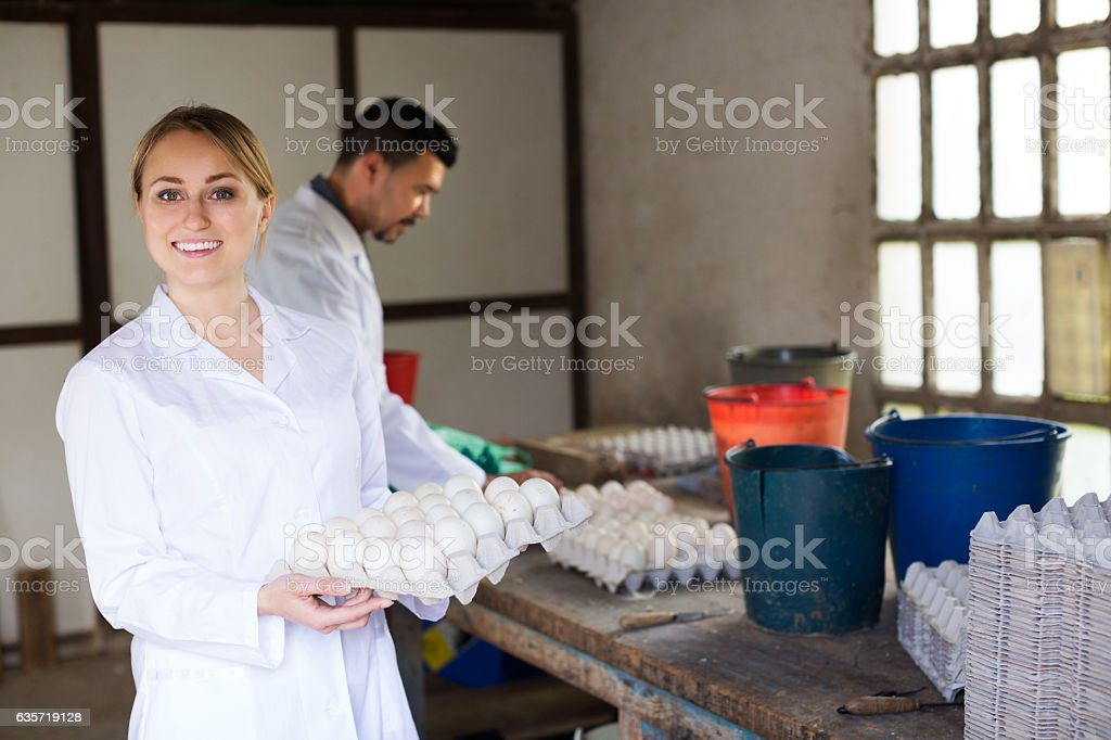 Female fowl-farm worker packing eggs stock photo