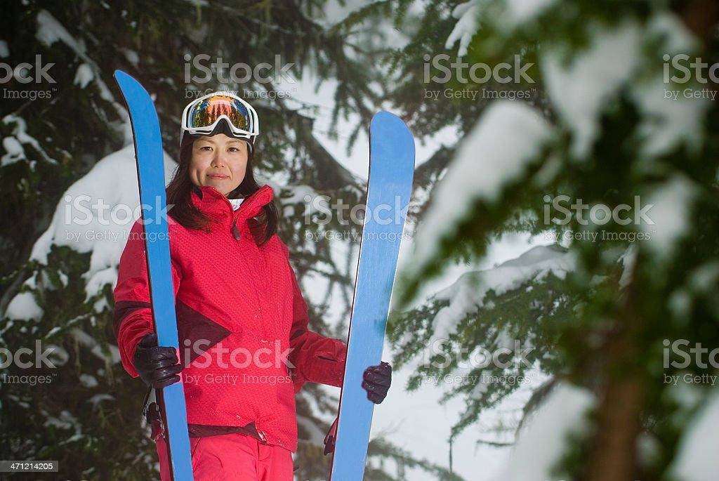 Female Freeskier stock photo