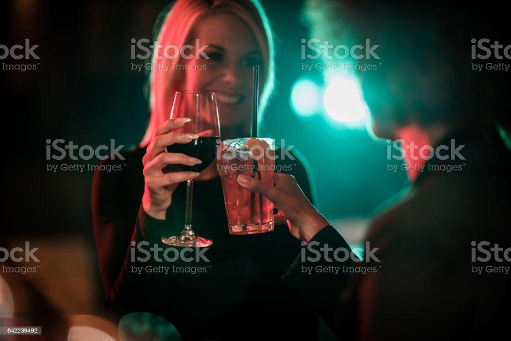 Female friends having a toast stock photo
