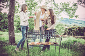 Female friends having picnic in Goriška Brda, Slovenia