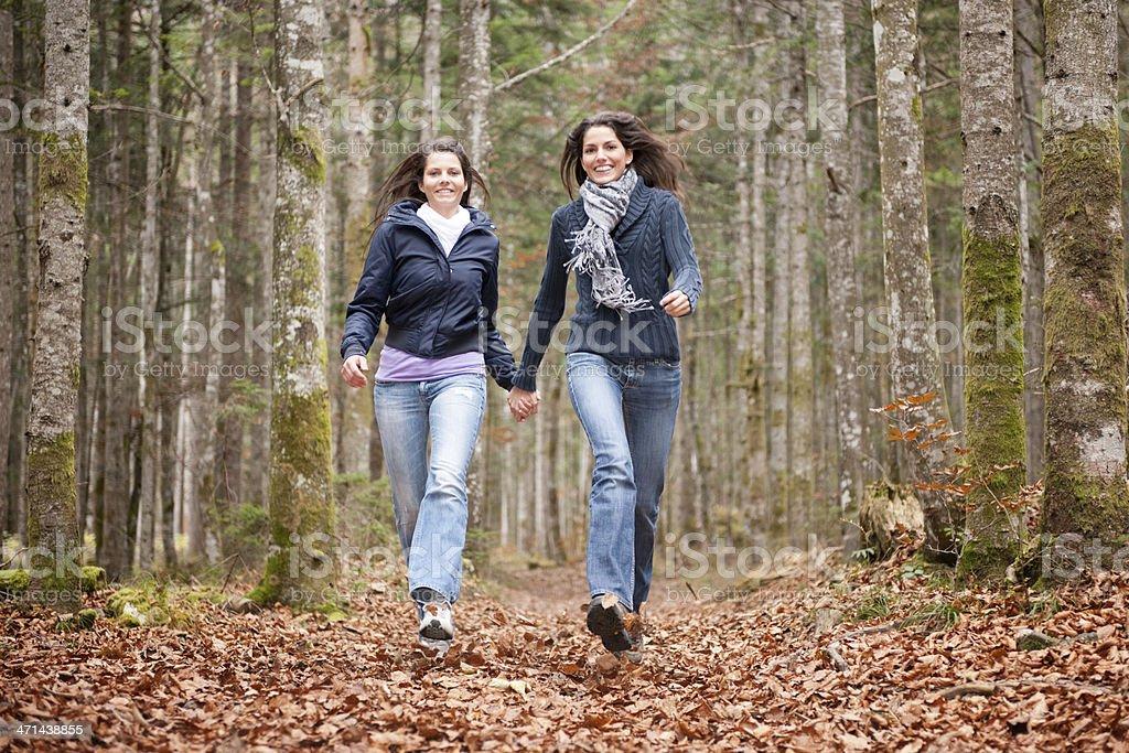 Female Friends running through Autumn Leaves (XXXL) royalty-free stock photo