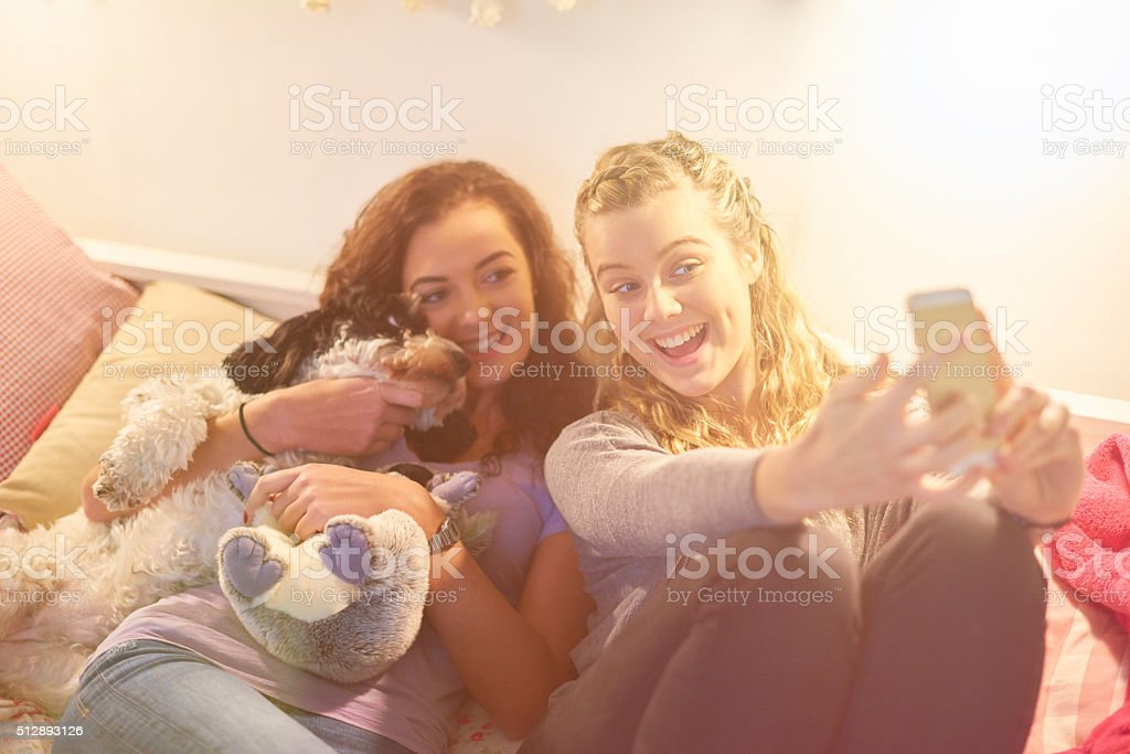 female friends selfie time with  dog stock photo
