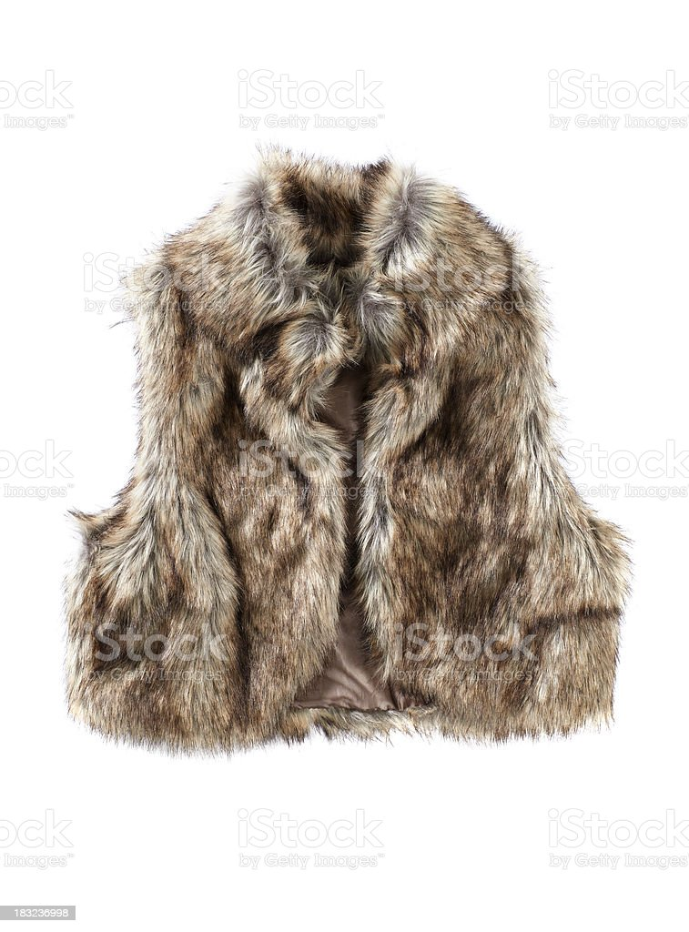 Female Fur vest isolated on white stock photo