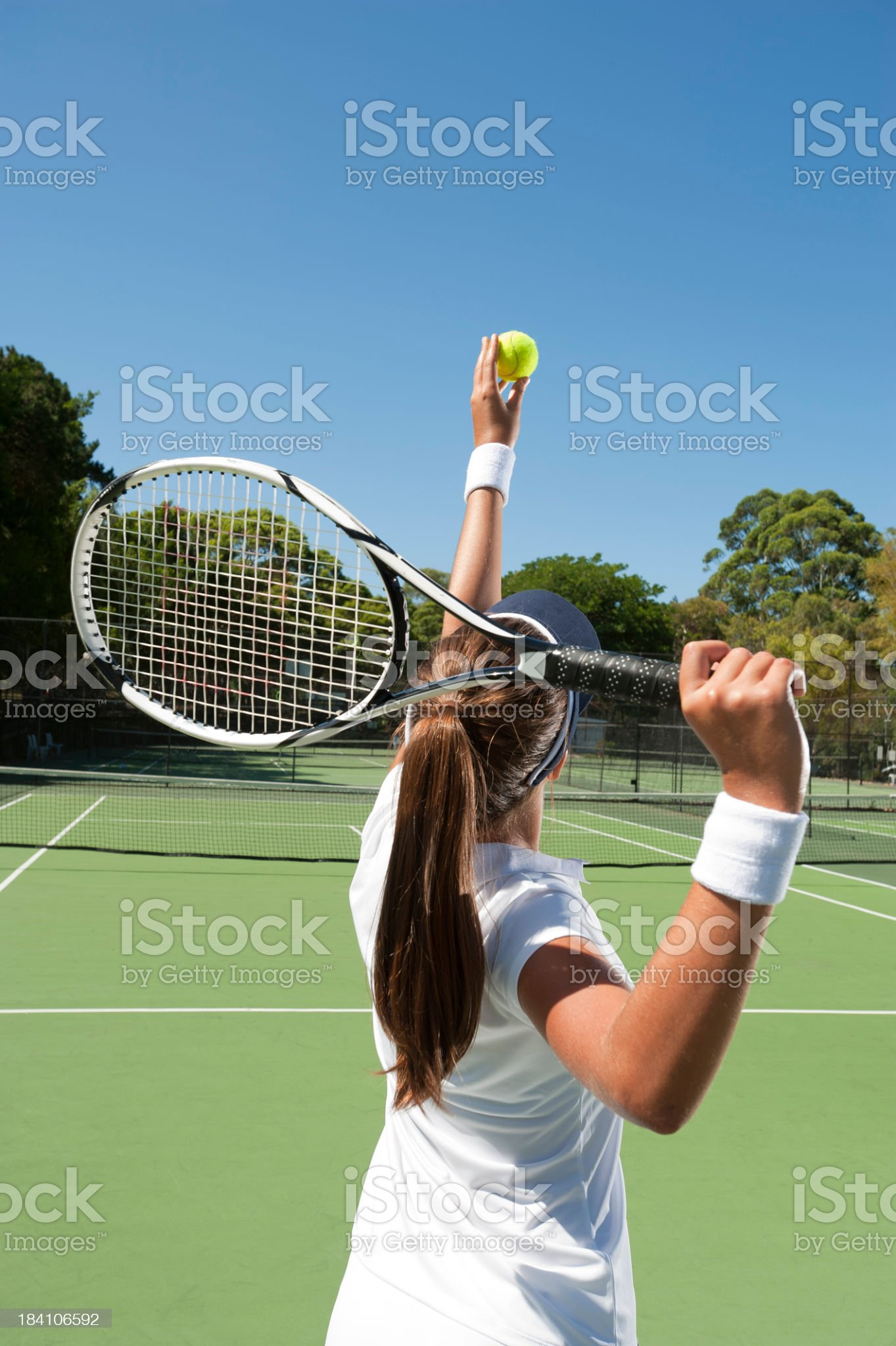 Female getting ready to serve royalty-free stock photo