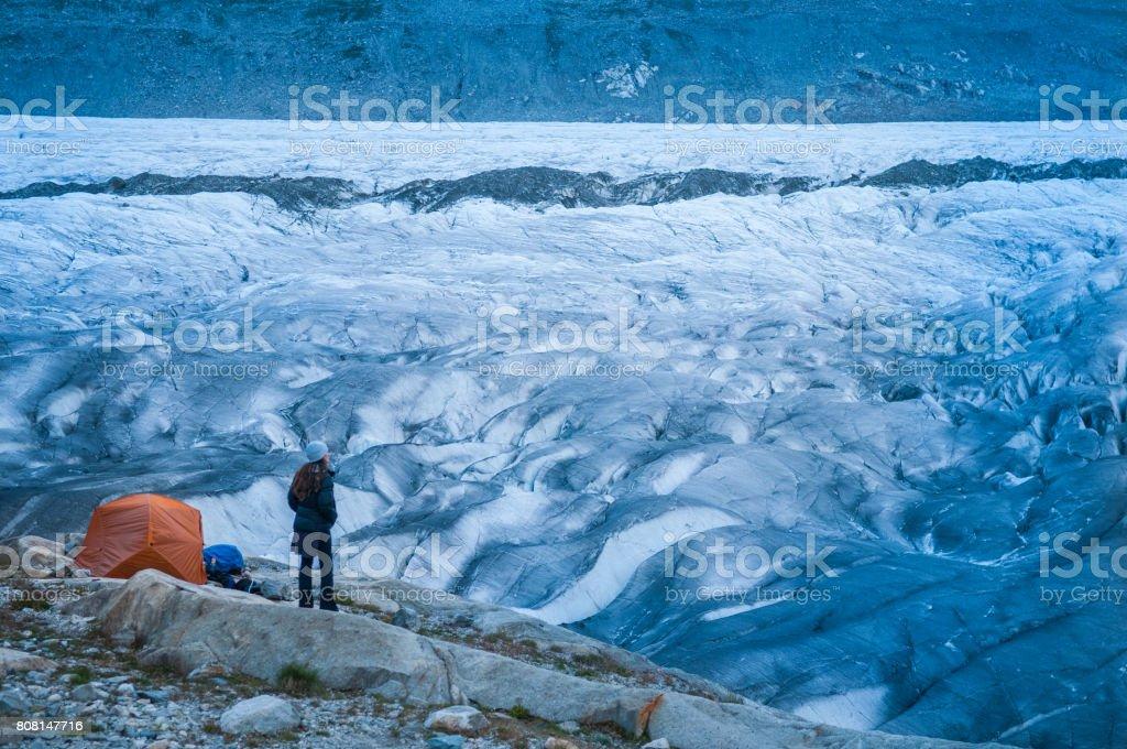 Female Glacier Camping stock photo