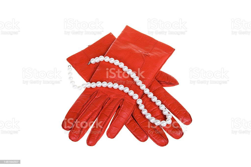 Female gloves with costume jewellery royalty-free stock photo
