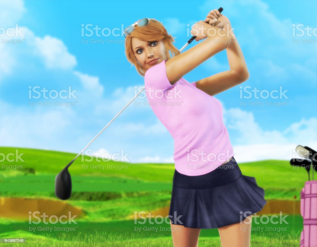 Female Golf player teeing off stock photo