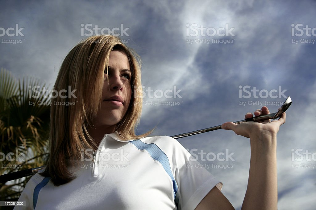 Female Golfer Concentration royalty-free stock photo