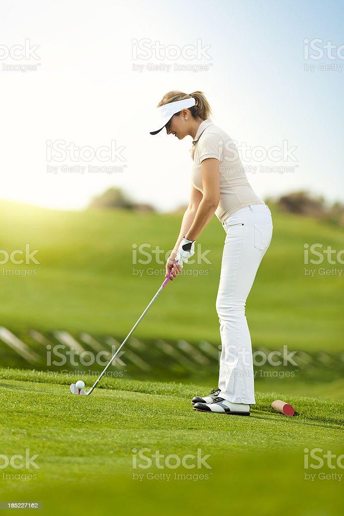Female golfer royalty-free stock photo