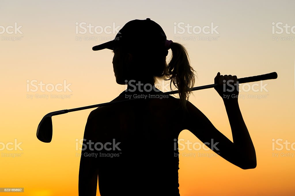 Female golfer stock photo