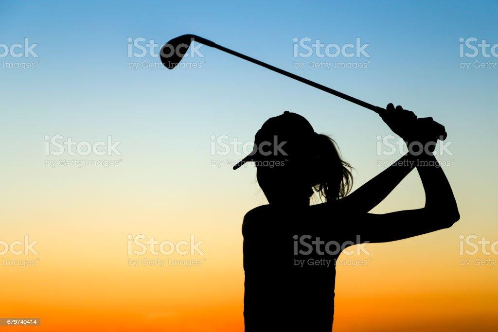 Female golfer stock photo