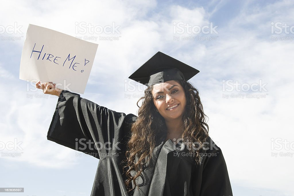 Female Graduate Asking To Get Hired royalty-free stock photo