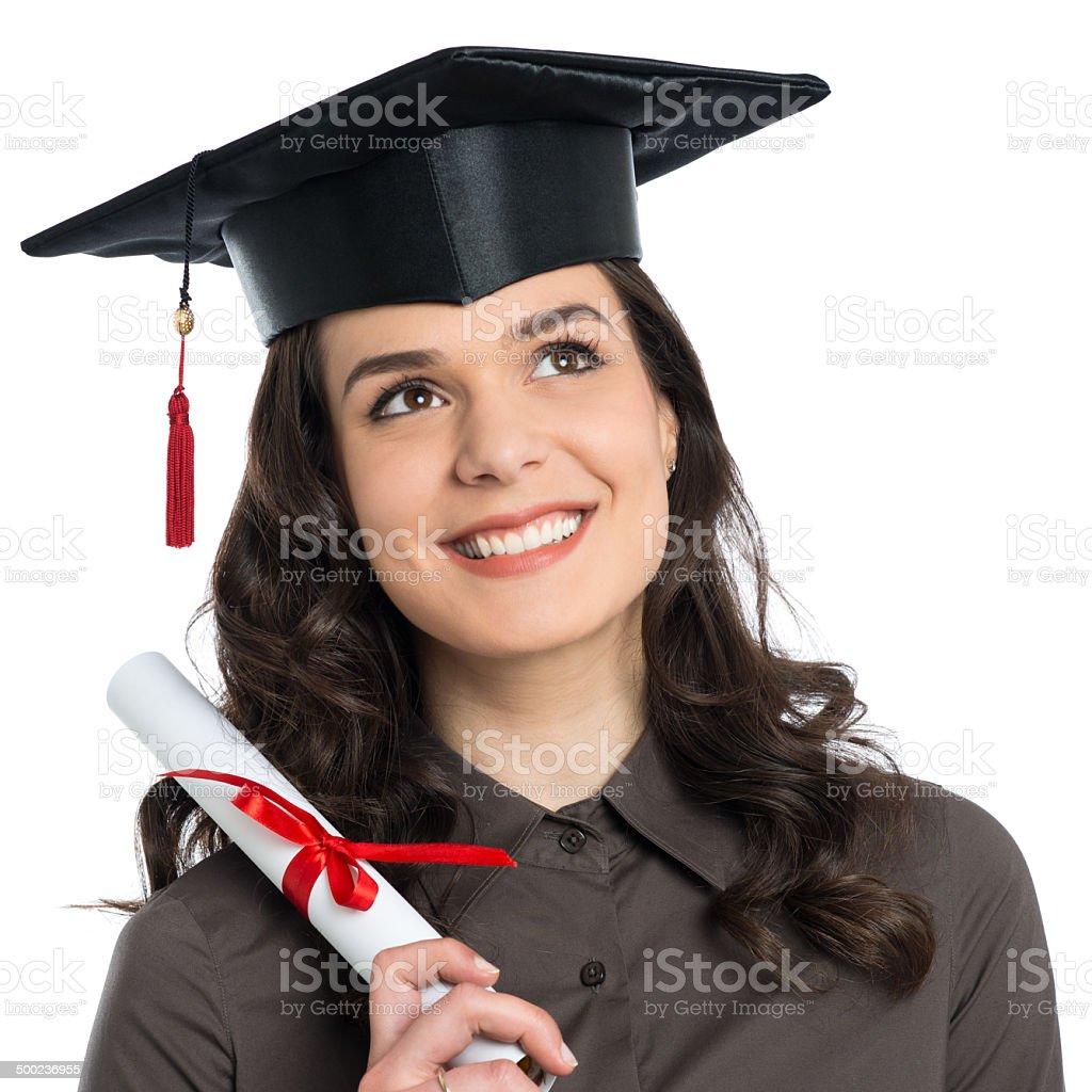 Female Graduate With Certificate stock photo