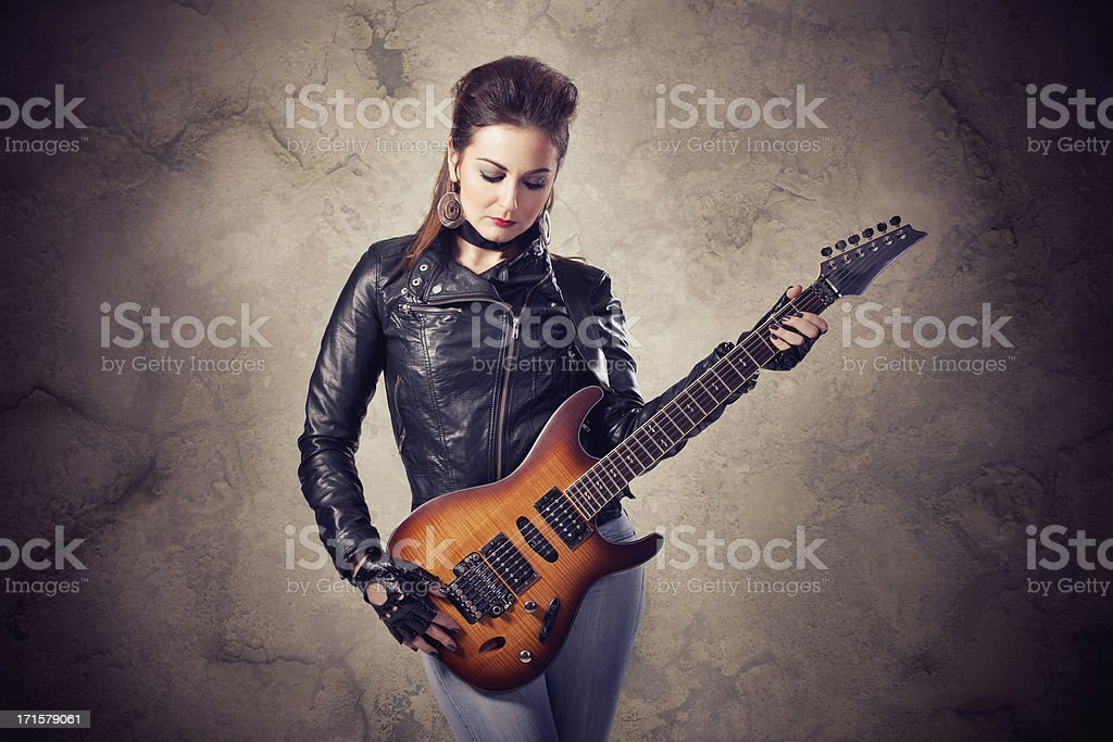 Female guitarist royalty-free stock photo