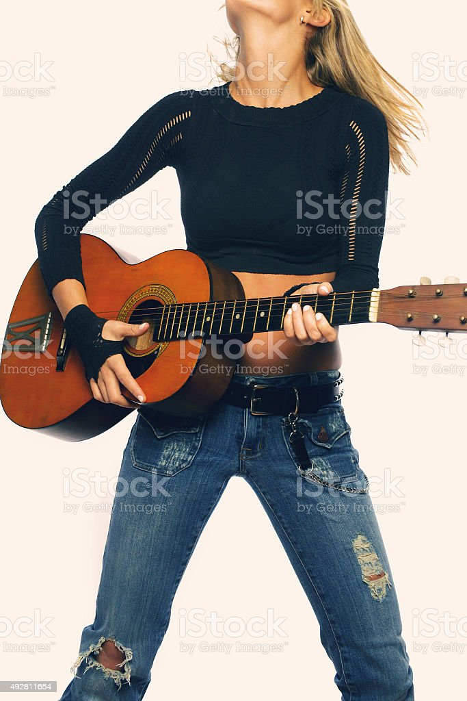 Female Guitarist stock photo