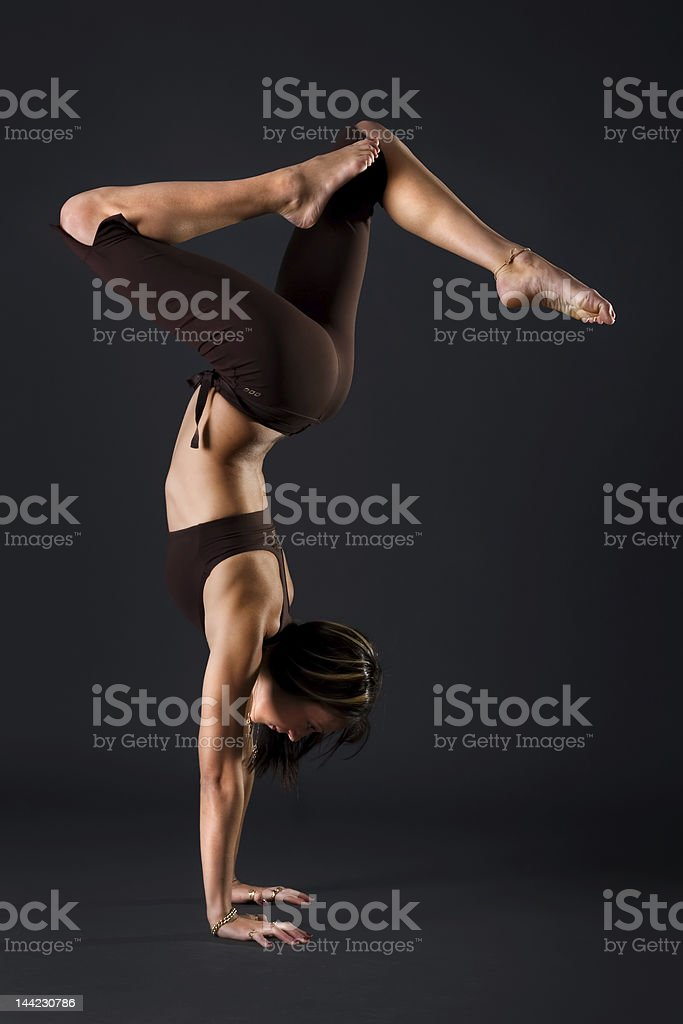 Female gymnast stretching royalty-free stock photo