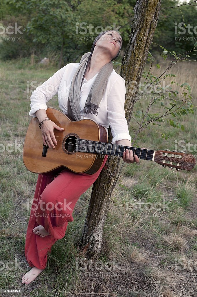 Female Gypsy Musician royalty-free stock photo