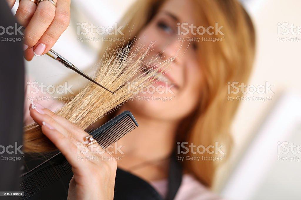 Female hairdresser hold in hand lock of hair stock photo