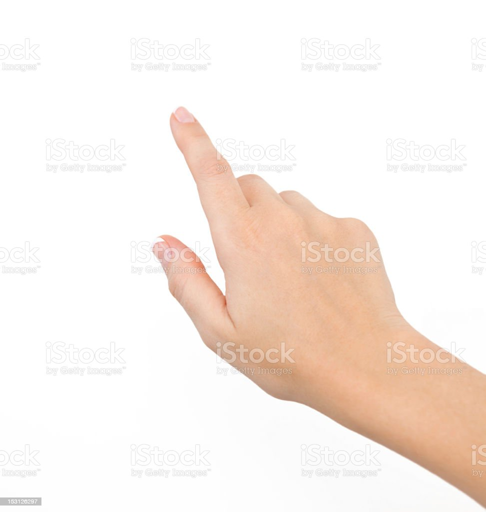 Female hand against white background stock photo