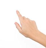 Female hand against white background