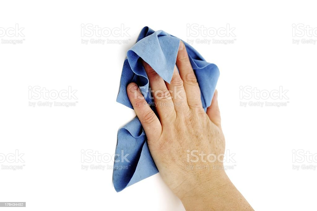 Female hand cleaning surface stock photo