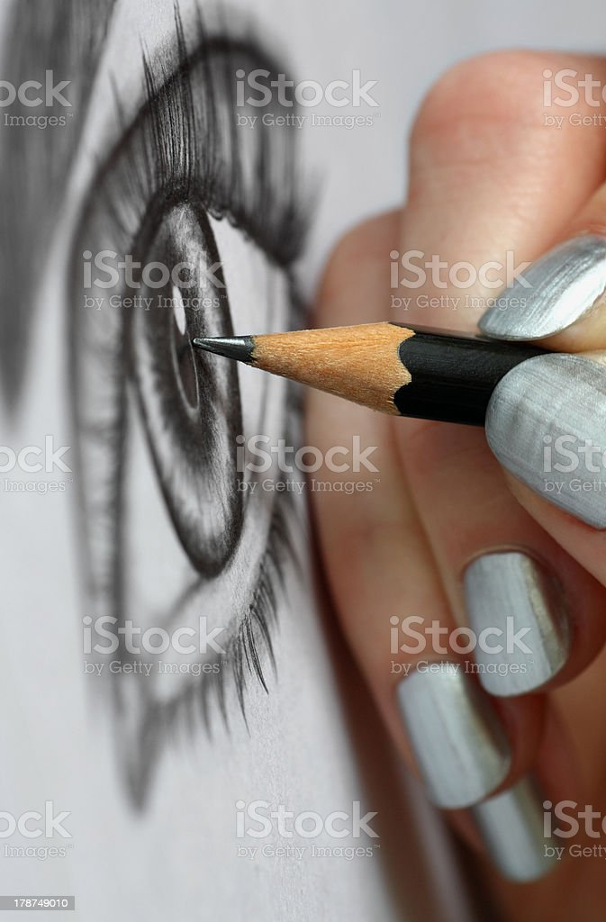 Female hand drawing royalty-free stock photo