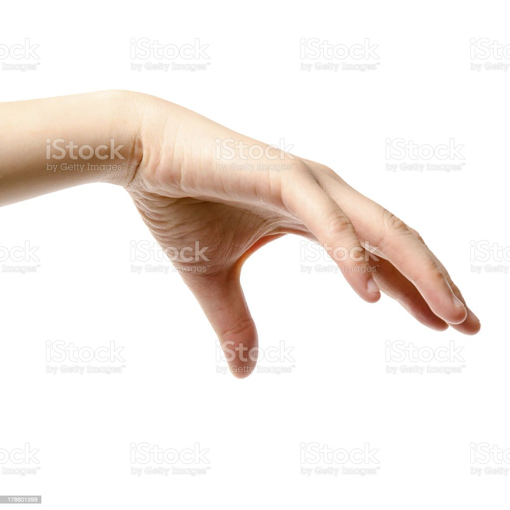 female hand drop or  grab round object stock photo