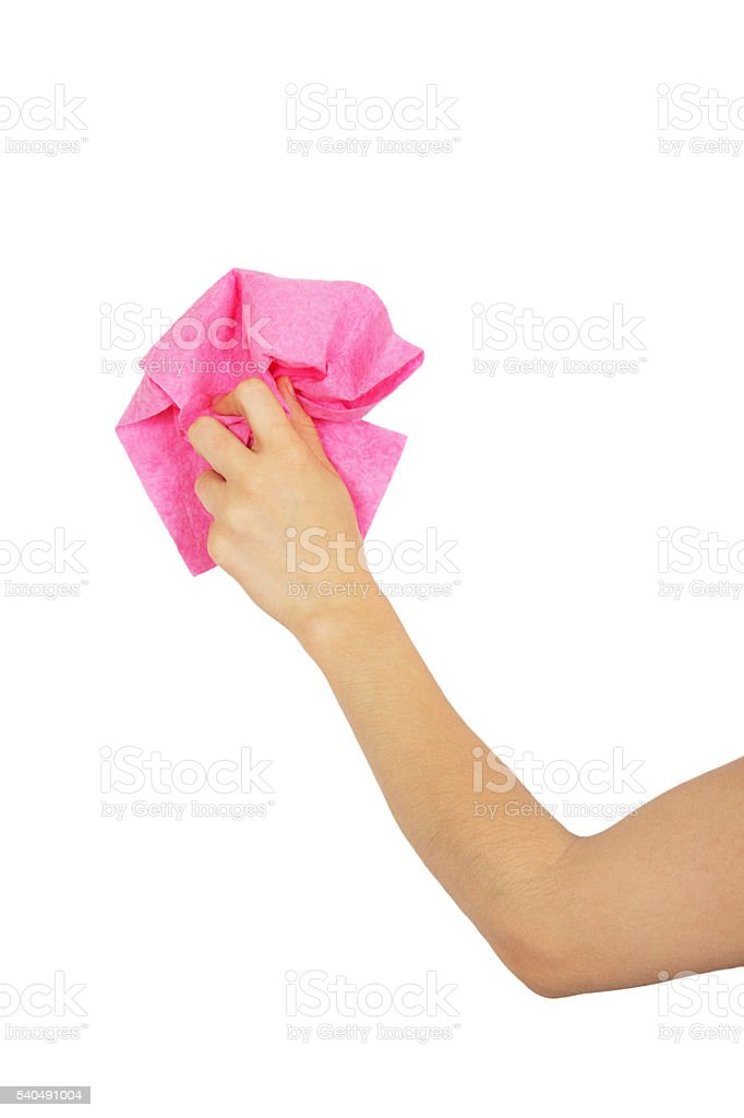 Female hand dusting pink rag stock photo