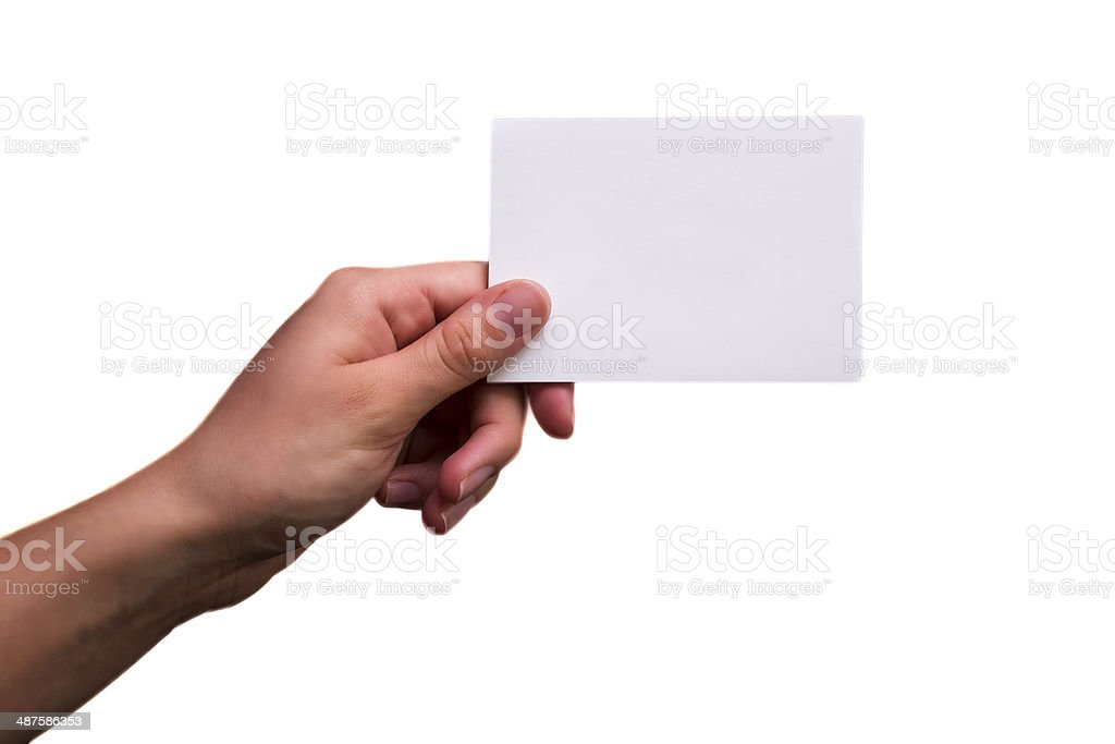 Female Hand Holding a Blank Note stock photo