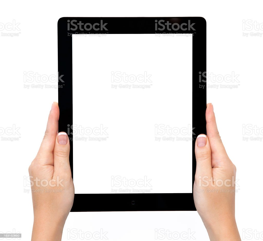 A female hand holding a blank tablet stock photo