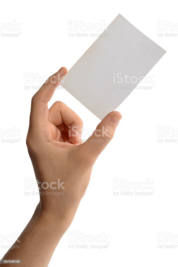 Female hand holding a businesscard stock photo